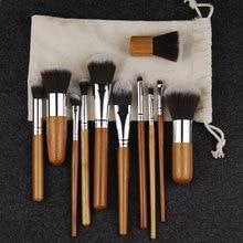 11PCS Professional Bamboo Makeup Brushes Set Eye Shadow