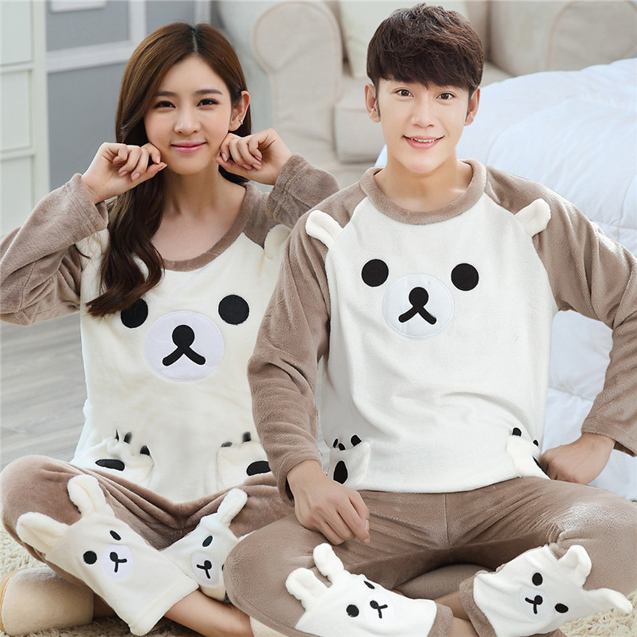 Winter Cute Cartoon Bear Couple Plush Pajamas Set Women Thick Warm Unisex Home Clothes Flannel Long Sleeve O-Neck Tops + Pants