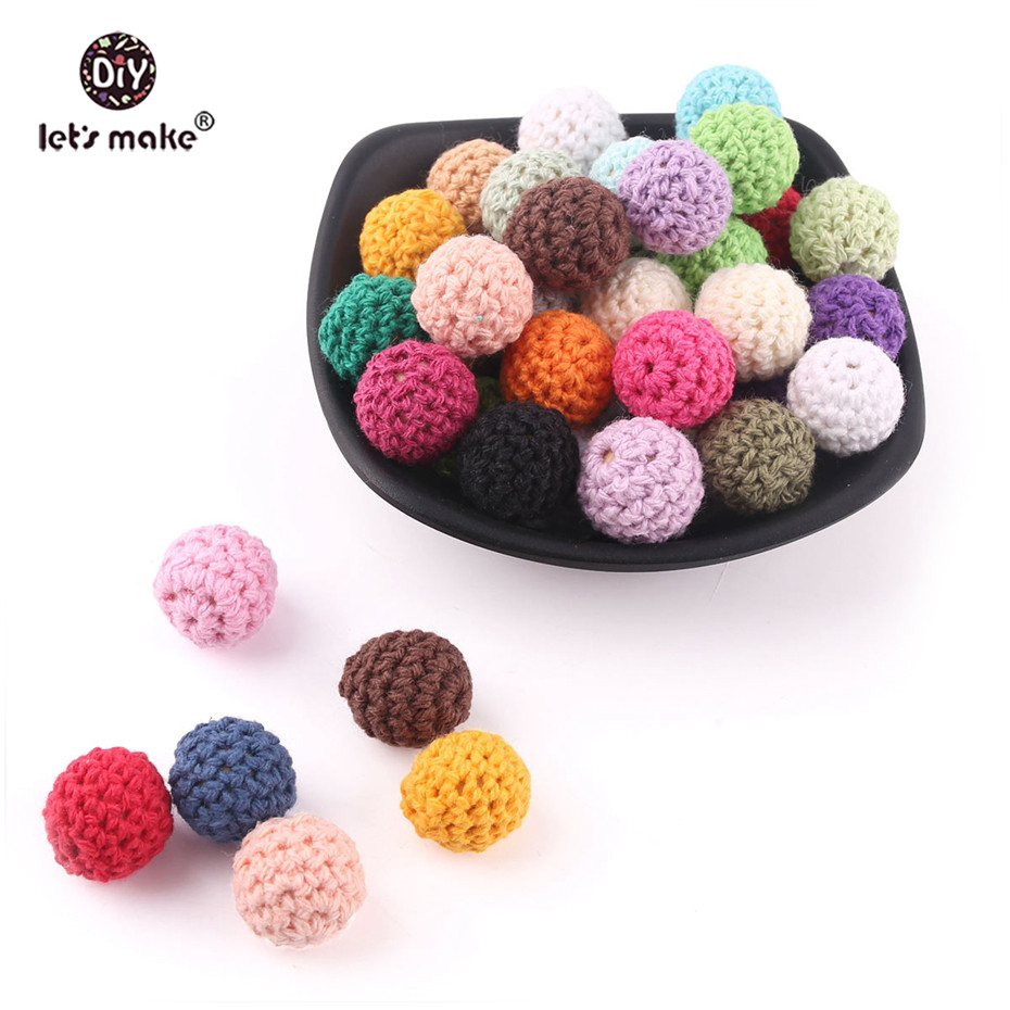 Let's Make 20mm 10pc Baby Teether Crochet Beads BPA Free Bracelet DIY Jewelry Accessories Baby Products Chewing Sensory Toys
