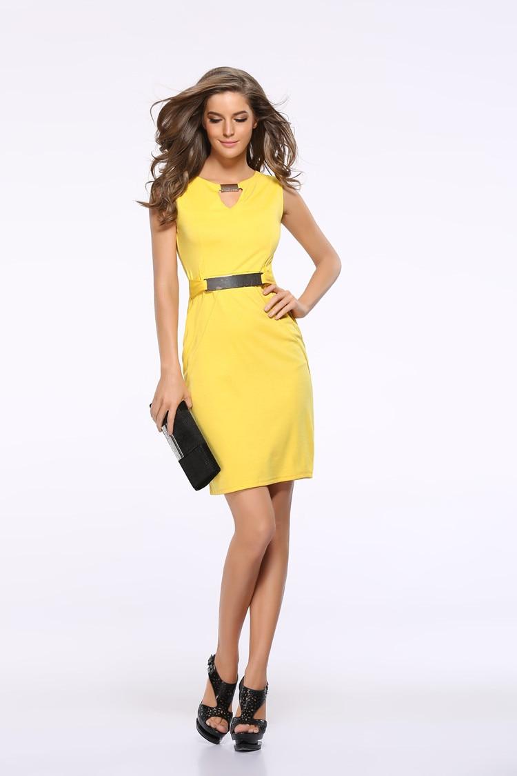 Women Summer Dress Fashion Hollow Out Sleeveless Pencil Dress Knee Length Women Casual Dresses Yellow Red Blue Black Plus Size 3
