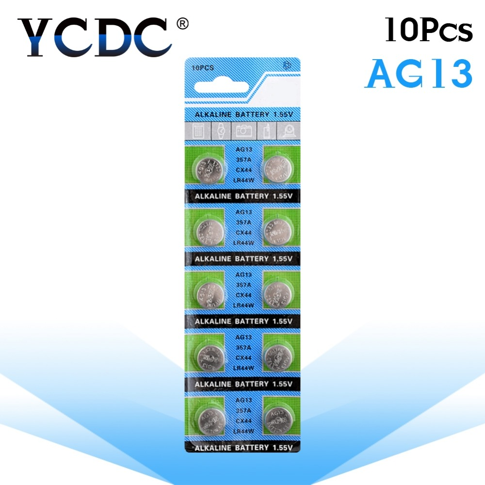 YCDC +2020+ +Sale+ 10 Pcs AG13 LR44 357A S76E G13 Button Coin Cell Battery Batteries 1.55V Alkaline Pilas Boton(China)
