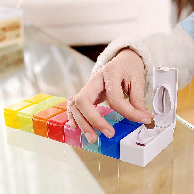 Portable 7 Slots Pill Tablet Cutter Splitter Divide dispensing pill case Medicine Holder Organizer storage box