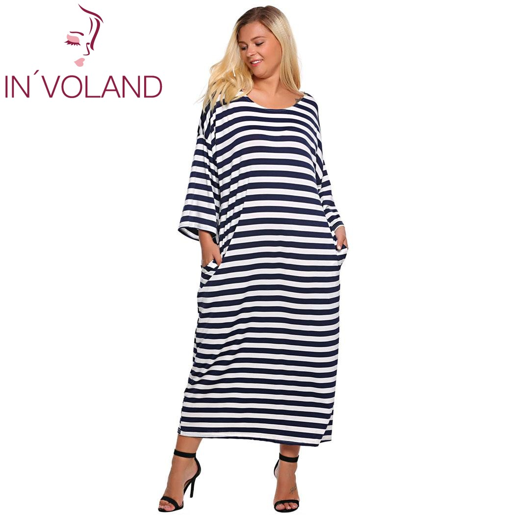 IN'VOLAND Women Dress Plus Size XL-6XL Spring Autumn 3/4 Batwing Sleeve Striped Casual Loose Straight Maxi Dresses Big Size