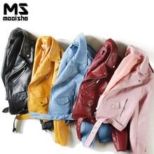 Mooishe Spring ZA Women PU Leather Short Jacket With Zipper Candy Pink Blue Black Slim Ladies Motorcycle Jacket Coat