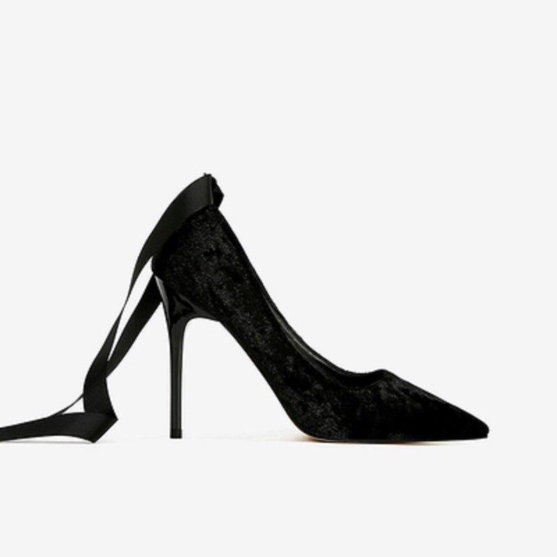 Nouveau Profonde D'été Velours Printemps Haute 2 Chaussures Pointu Talon 1 2019 De 3 Sangle Peu Stiletto Bouche Hauts Talons Et Femmes Ultra qtZxwwEv