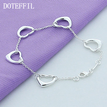 Bracelets 925 Sterling Silver Sterling Bracelets Women Five Heart Bracelet Fashion Jewelry Wholesale Free Shipping women bracelets silver dragonfly bracelet for women romantic bracelets silver 925 jewelry