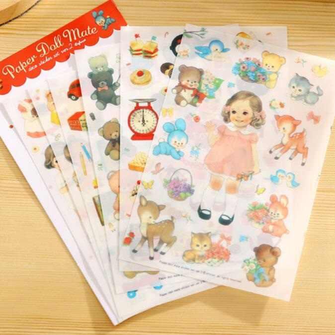 6 листов/упаковка/Лот Новый kawaii кукла девочка набор наклеек из ПВХ студентов diy Забавный дневник Многофункциональные Декоративные наклейки супер подарок