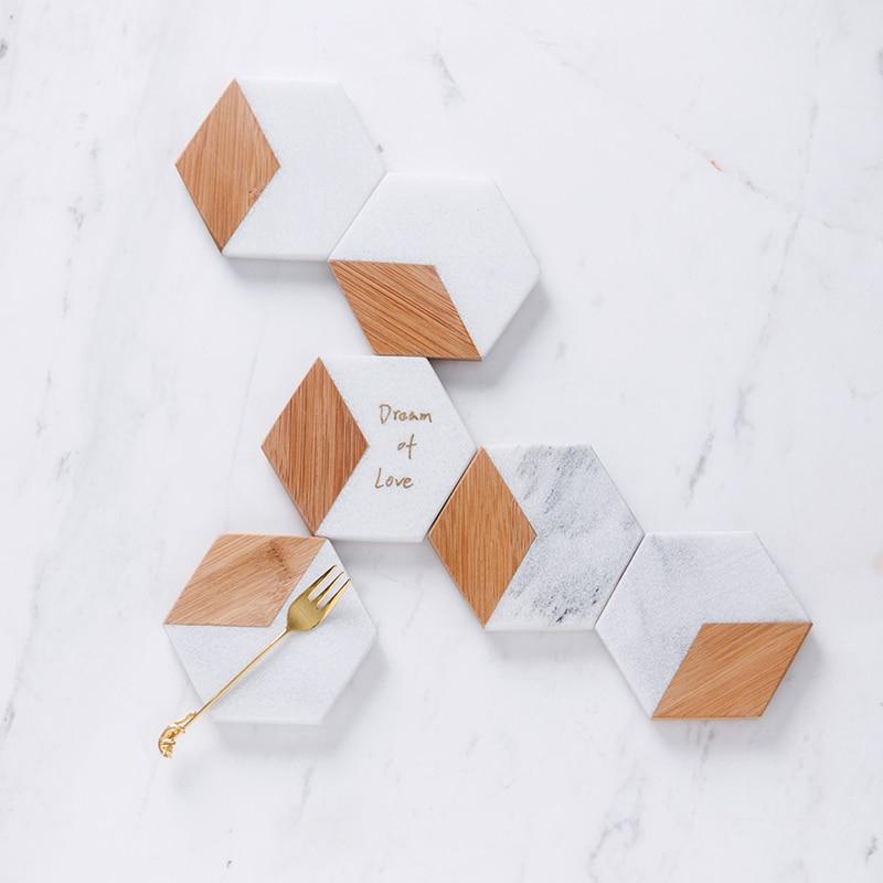Pad Set Marbling Bamboo Geometric Hexagon Table Mat 1