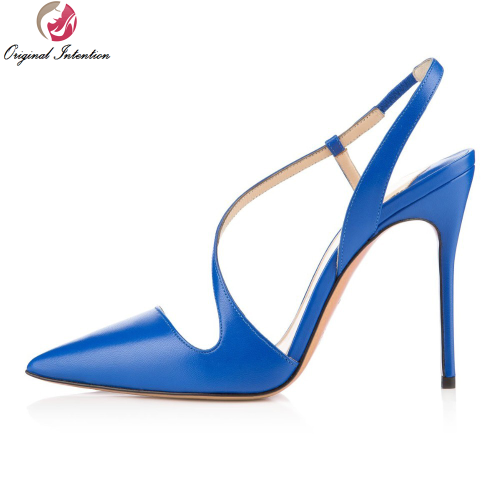 ФОТО Original Intention Fashion Women Pumps Slingbacks Thin Heels Shoes Woman Pumps Blue Red Shoes Woman Plus Size 4-15