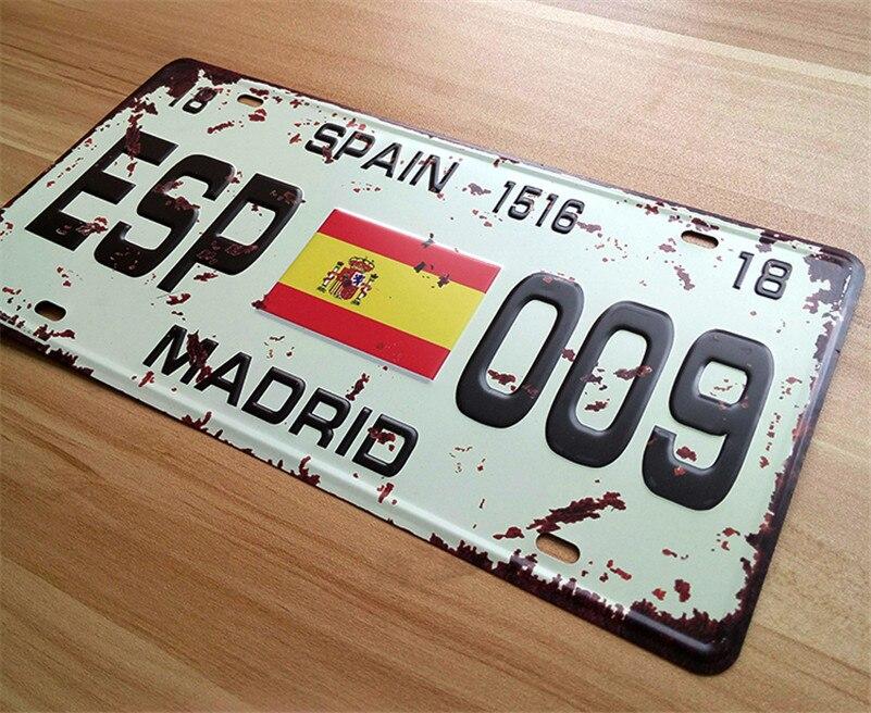 License  Plates Car number   ESP-009  Retro Vintage Metal tin signs  Wall art craft painting 15x30cm wall art craft