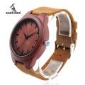 BOBOBIRD L15 Men's Red Sandal Wood Watches Men Cool Quartz Wristwatches With Leather Bands in Orginal Gift Box Design