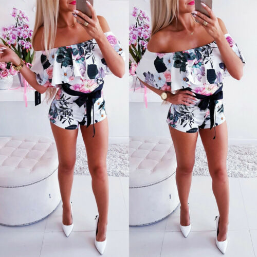 Women Casual  Off Shoulder Sleeveless Bodycon Romper Jumpsuit Club Tights Bodysuit Short Holiday Mini Jumpsuit Sundress