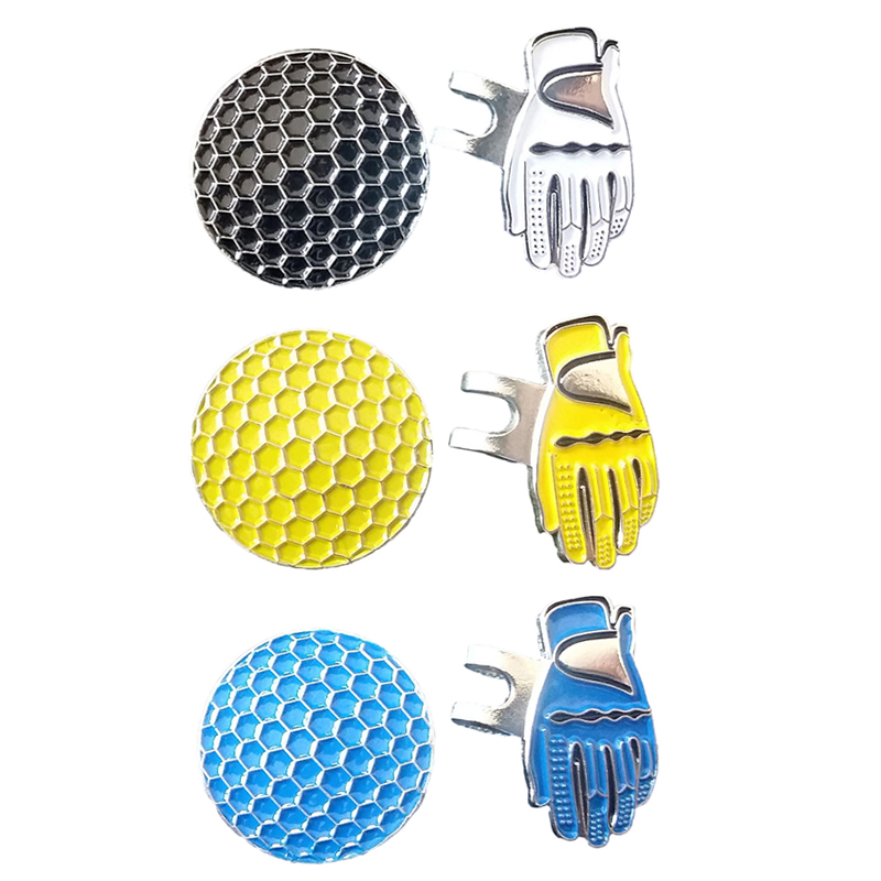 Clip Golf-Ball-Marker-Set Alloy Magnetic Cap Visor-Hat Removable Metal Silver title=