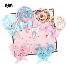 AHB Candy Lollipop Liquid Quicksand Cover Colorful Beads Sequin Acrylic Accessories For Phone DIY Hair Bow Cream Patch Cases