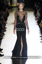 2017 Elie Saab Design Abendkleid Spitze Blumen Langarm Bodenlangen Kleider Cocktail Party Robe De Soiree MY1205-05
