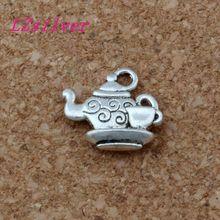 100pcs Antique Silver zinc alloy Double-sided Teapot Charm Pendant 14x15 mm DIY Jewelry A-135