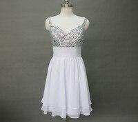 shoulder strap bridesmaid dress chiffon sleeveless wedding dress tea long beaded bridal party gown custom US 2 4 6 8 10 12 14 16