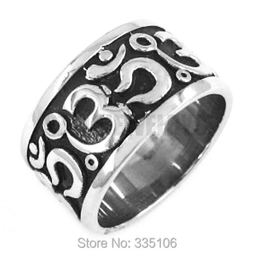 Brave Wholesale Om Symbol,buddhism, Zen Art Ring Stainless Steel Jewelry India Om Yoga Motor Biker Ring Mens Ring Swr0293a