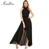 Kinikiss Maxi Summer Dress 2017 New Women Solid Backless Halter Black Beach Long Dress Lace Up