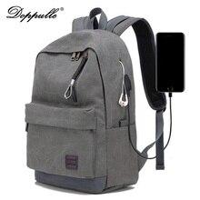 Doppulle бренд зарядка через USB наушников человек Рюкзаки мужской Повседневное путешествия женщин Подростки студент простой Тетрадь рюкзак для ноутбука