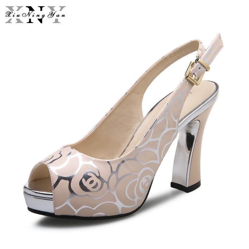 XiuNingYan Summer Sandals Women High-heeled Shoes Open Toe Fish Head Platform Sandals Woman PU Leather 10cm Heels Ladies Shoes