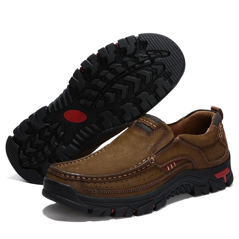 Nouvelle Mode La Chaussures Appartements Faits De En Brun Hommes khaki Véritable Main Arrivée Brown Marque À Robe Cuir D'été H7Cdxwqqp