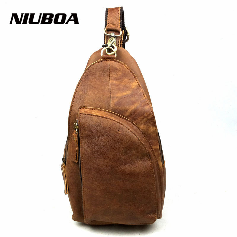 100% Genuine Leather Business Chest Bags Men Outside Crossbody One Shoulder Bags Brown Back Messenger Bags Handbags