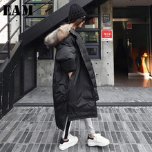 [EAM] 2018 New Autumn Winter Burr Side Hooded Thick Loose Drawstring Button Keep Warm Long Coat Women Fashion Tide OB101