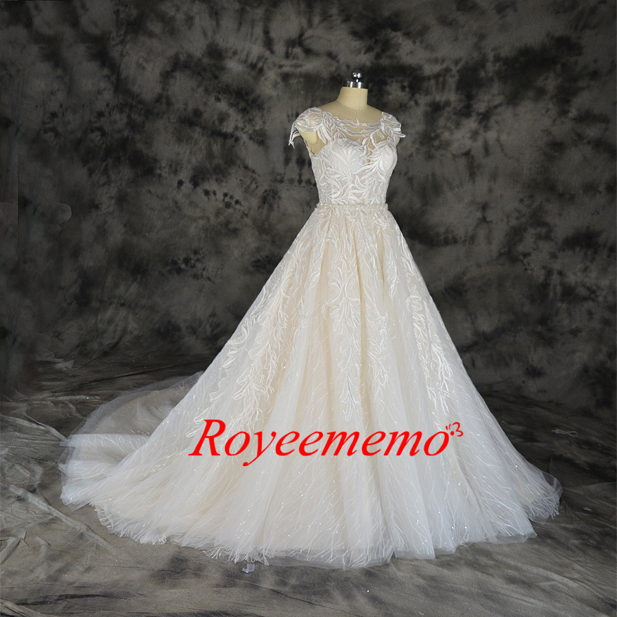 Image 3 - Fashion lace wedding dress champagne and ivory wedding gown custom made wholesale price bridal dressWedding Dresses   -