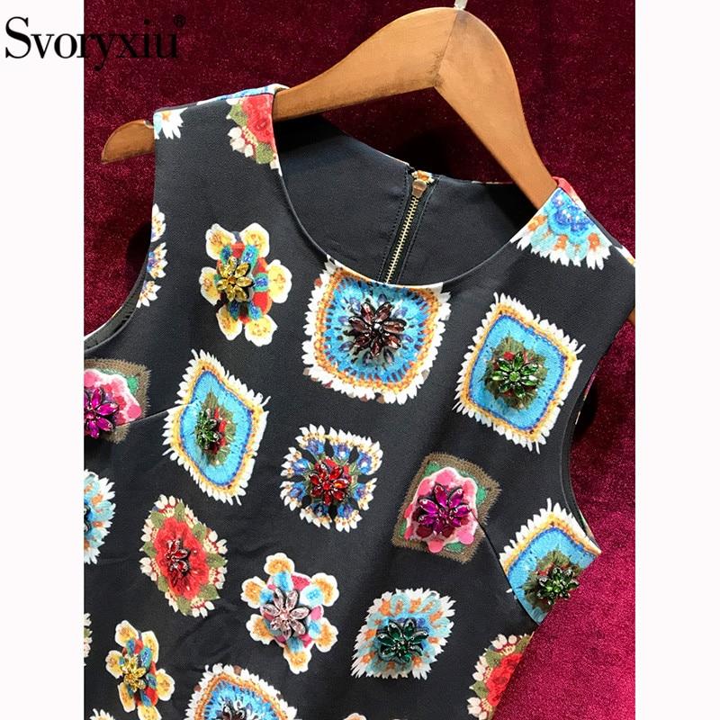 Kadın Giyim'ten Elbiseler'de Svoryxiu kadın Yaz Pist Eski Baskı küçük Siyah Elbise Moda Kristal Elmas Bayanlar lüks Parti Kolsuz Elbiseler'da  Grup 3