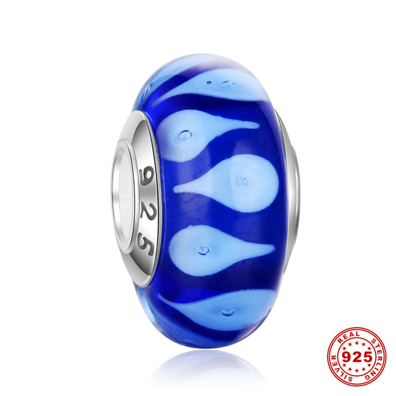 Beads Bright 925 Sterling Silver Core Dark Blue Drop Murano Glass Beads Fit European Charms Bracelets Necklaces Women Fashion Jewelry Dsg16 Drip-Dry Jewelry & Accessories