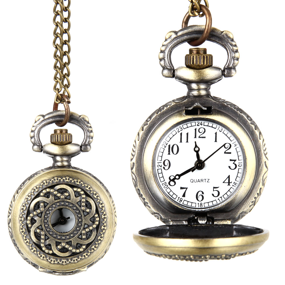 Fashion Vintage Quartz Pocket Watch Alloy Hollow Out Flowers Women Lady Girls Sweater Chain Necklace Pendant Clock Gifts  TT@88