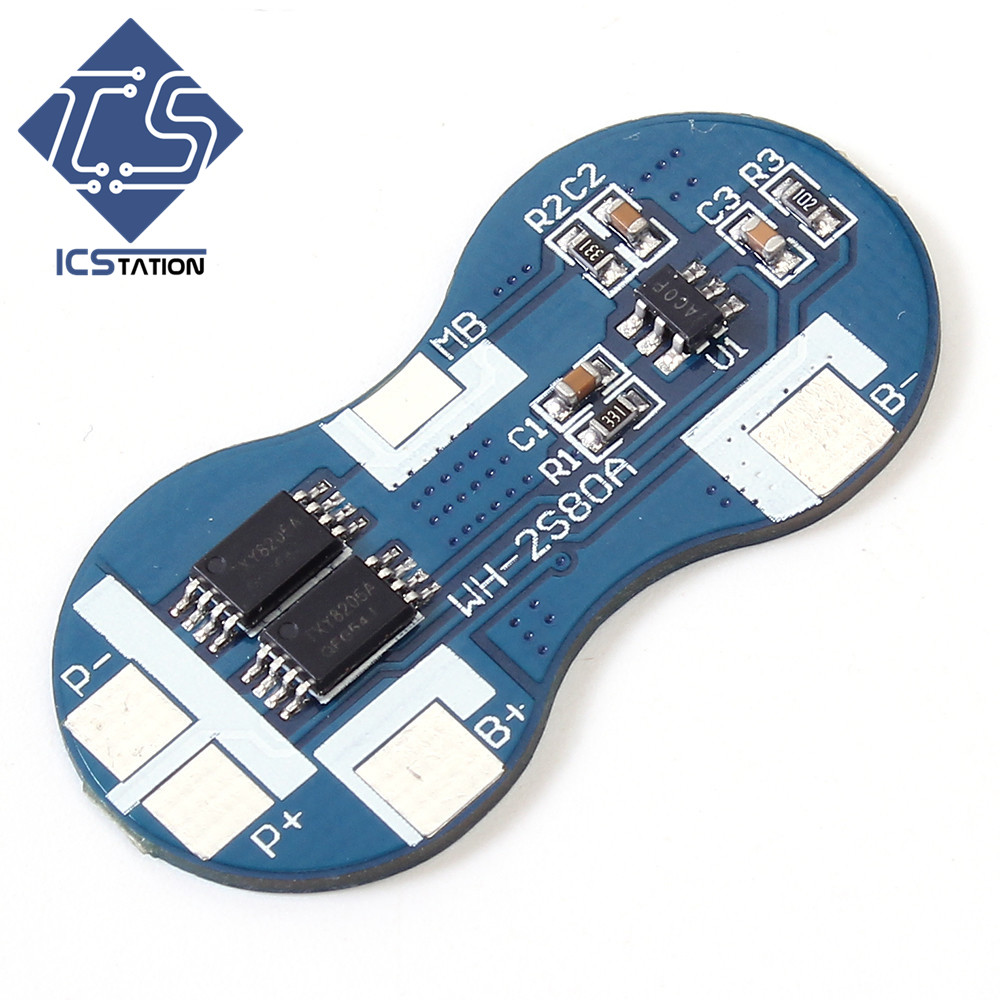 2PCS 7.4V 2S 18650 Li-ion Battery Charger Protection Board 4A 2 Serial BMS Overcurrent Overcharge / Overdischarge Protection 1pc new 3s li ion protection board for 12v 10a 18650 bms charger lithium battery 50x16x1mm
