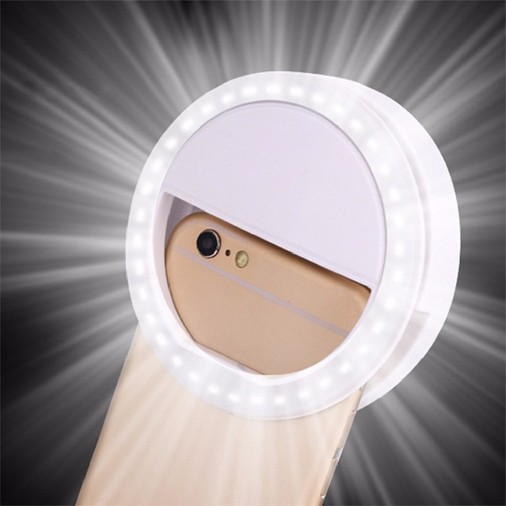 Mobile Phone Light Clip Selfie LED Auto Flash For Cell Phone Smartphone Round Portable Selfie Flashlight Makeup Mirror