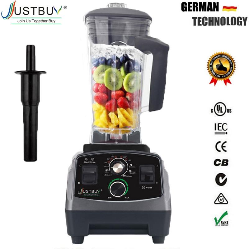 Bpa livre de grau comercial temporizador misturador liquidificador espremedor frutas automático resistente processador alimentos triturador gelo smoothies 2200 w