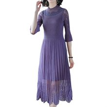 Summer Purple Long Party Bodycon Dress Women 2019 New Fashion Elegant Pleated Lace Clothes Female Plus Size Vestido Oodji HJ283 oodji 3l410092m 19370n 7579f