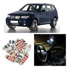 17 шт., супер яркий белый светодиодный светильник Canbus для автомобиля, лампочка, интерьерная посылка, набор для 2005-2010 BMW X3 E83, карта, купольная дверная лампа
