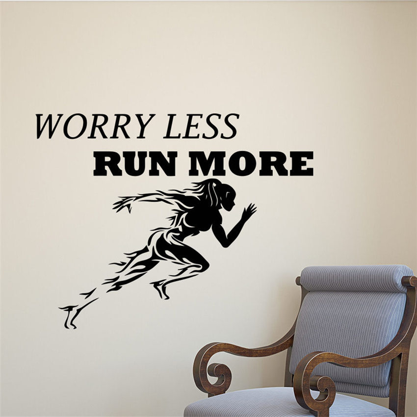 Worry Less Run More Wall Decal Runner Gym Quote Vinyl