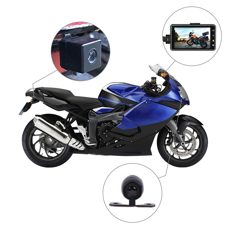 KY-MT18 de la motocicleta del coche de la cámara del vehículo Auto DVR Motor Dash Cam con doble portátil delantero trasero videocámaras negro