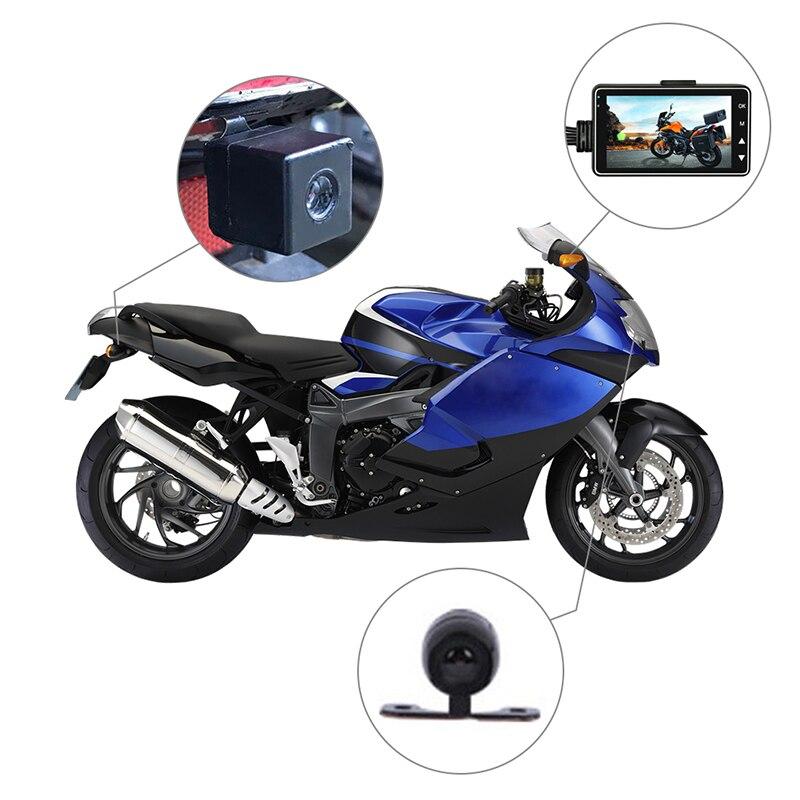 KY-MT18 Auto Motorfiets voertuig Camera Auto DVR Motor Dash Cam met Dual-track Draagbare Voor Achter camcorders Recorder Zwart