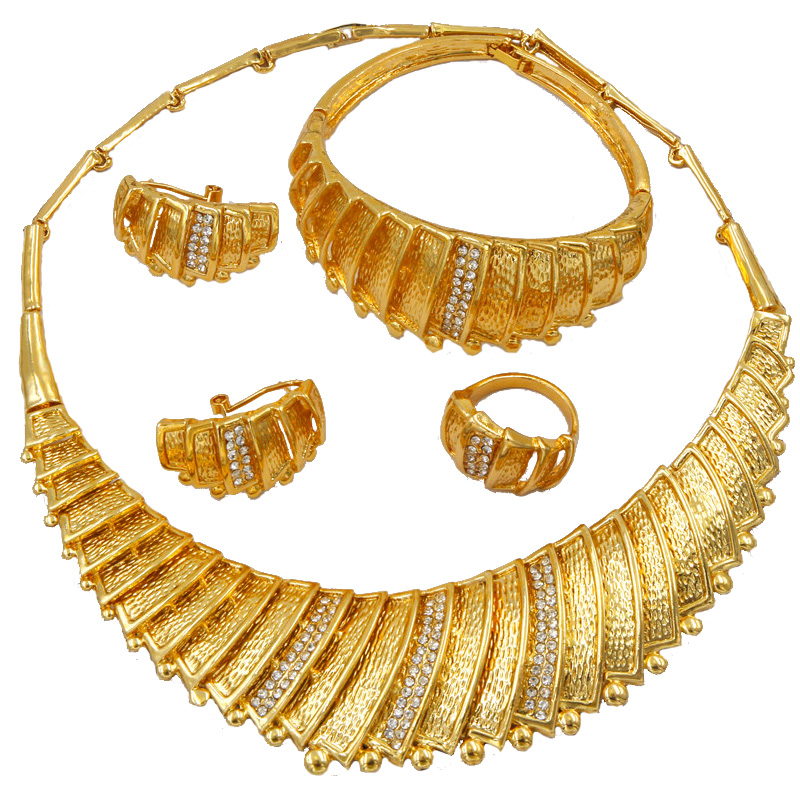 Liffly Dubai Gold Design 24 Gold Jewelry Sets Ring for Women African Bride Wedding Jewelry Charm Bracelet Jewelry Accessories