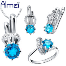 Almei Fashion Wedding Jewelry Sets for Women Jewelery Blue Rainbow Rings Set Earring Joyeria Conjuntos Parure