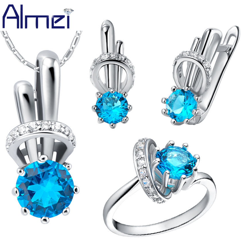 Almei Fashion Wedding Jewelry Sets for Women Jewelery Blue Rainbow Rings Set Earring font b Joyeria