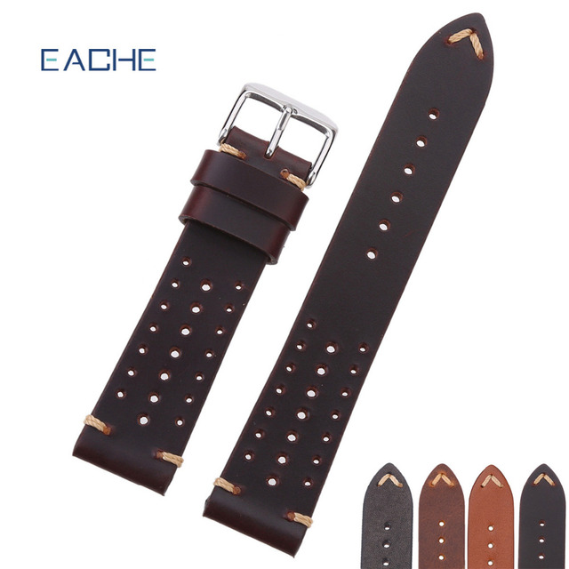 EACHE Popular Special Hole Design Watch Bands Genuine Calfskin Leather Racing Ba
