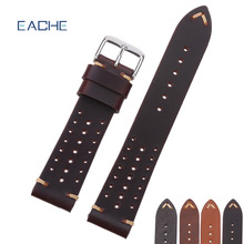 EACHE Popular Special Hole Design Watch Bands Genuine Calfskin Leather Racing Band Watchband Straps 18mm 20mm 22mm