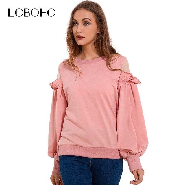 343497795a0c8 Cold Shoulder Sweatshirt Women 2017 Autumn Casual Loose Sweatshirts Womens  Patchwork Mesh Ruffle Pullover Sweatshirt Pink White