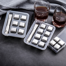 Stainless Steel Whiskey Stone Ice Cubes Reusable Chilling Stones for Whisky Wine Keep Your Drink Cold Longer Bar Tool Sets stone cold