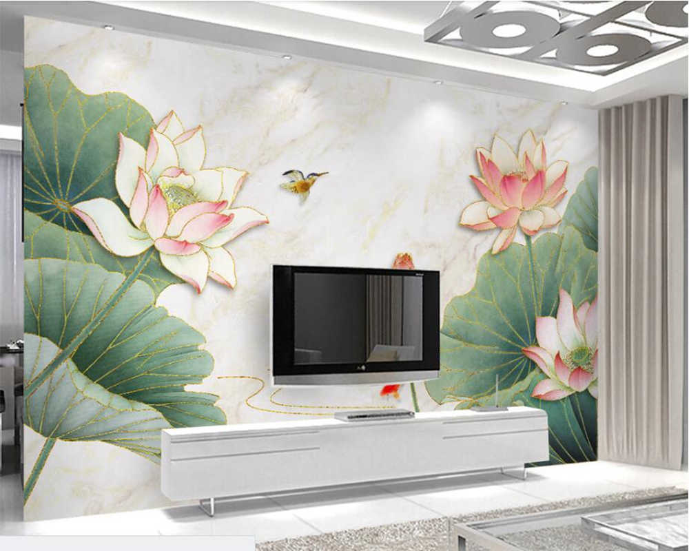 Chinese Marble Texture Gold Thread Lotus Wallpaper Papel De Parede