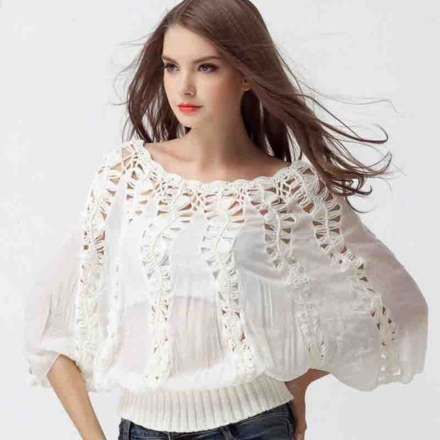 New 2014 Autumn Casual Women Lady Long Loose Bat T Shirts Tops white S, M, L, XL Free Shipping