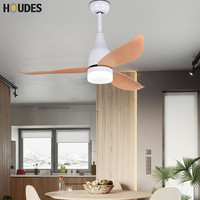 Nordic White LED Ceiling Fan Lamp For Living Room 220V Wooden Ceiling Fans With Lights 44 Inch Blades Cooling Fan Remote